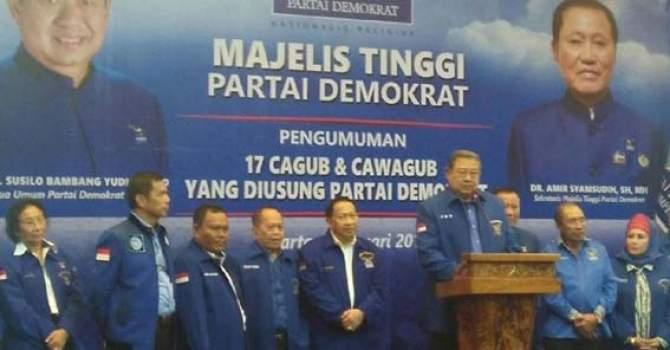 SBY Umumkan 17 Pasangan Cagub-Cawagub, Mayoritas Kader